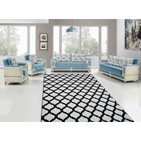 Black and White Diamond Patterned Carpet Cover