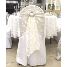 Tulle hat dress on top of chair cover